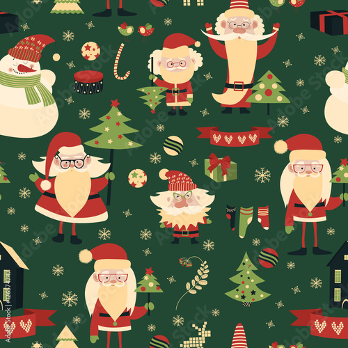 Materiał do szycia Merry Christmas and Happy New Year seamless pattern
