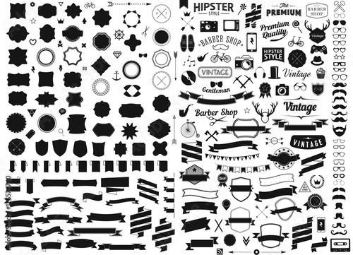 Fotobehang Hipster Hert set of vintage styled design hipster icons Vector signs and symbols templates phone, gadgets, sunglasses, mustache, ribbons infographcs element other things