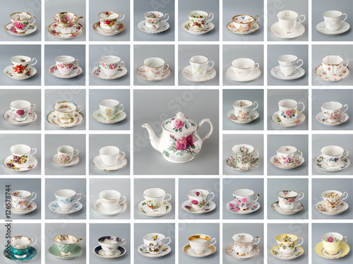 Zdjęcia Antique English teapot on the background of many antique bone china teacups