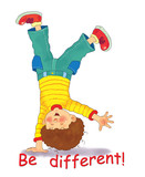 A cute happy boy walking on his hands. Illustration for children.