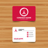 Business card template with texture. Eiffel tower icon. Paris symbol. Phone, web and location icons. Visiting card  Vector