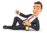 3d businessman lying on the floor with champagne - 126586180