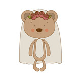 bride teddy bear character icon image vector illustration design