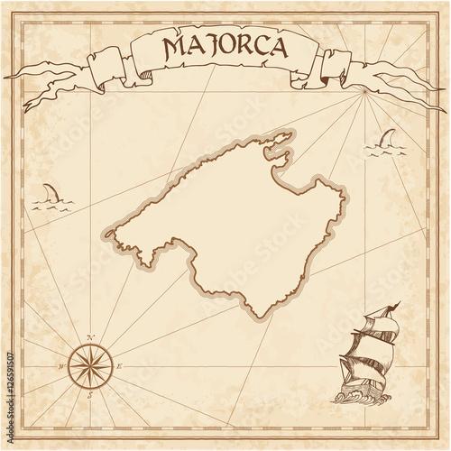 majorca old treasure map sepia engraved template of pirate island