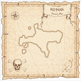 Ko Mak old pirate map. Sepia engraved parchment template of treasure island. Stylized manuscript on vintage paper.
