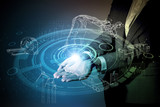 Fototapety robot and industrial technology abstract, a woman holding her hand, industry4.0
