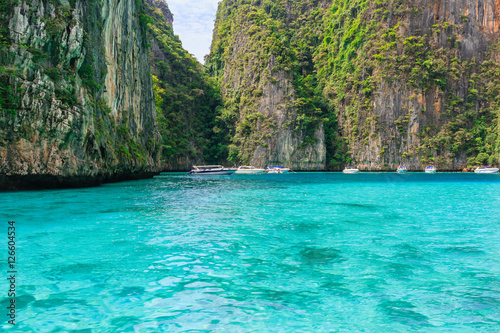 Poster Entering Pileh lagoon with beautiful limestone rock surrounded at Phi Phi island