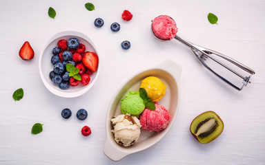 Colorful ice cream with mixed berry raspberry ,blueberry ,strawb