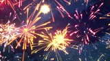 beautiful fireworks with lots of multicolor bangs. computer generated seamless loop christmas animation