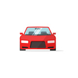 Car icon red color vector illustration, auto icon isolated on white background, colorful automobile front view flat style, vehicle symbol simple design - 126611957