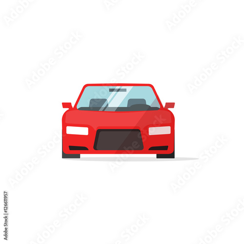 Fotobehang Auto Car icon red color vector illustration, auto icon isolated on white background, colorful automobile front view flat style, vehicle symbol simple design