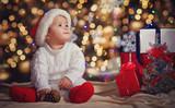 Little boy in Christmas Santa