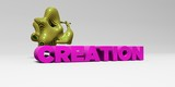 CREATION - 3D rendered colorful headline illustration.  Can be used for an online banner ad or a print postcard.