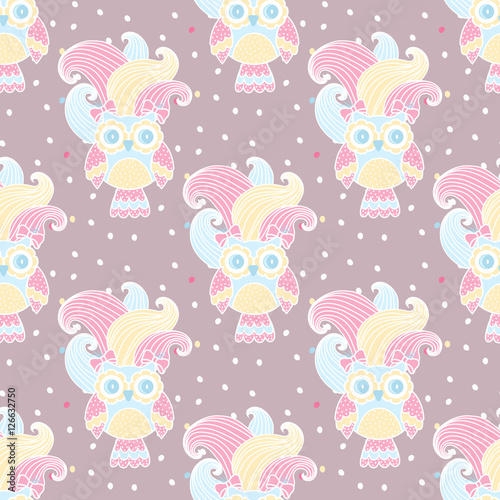 Papiers peints Hibou Seamless pattern with owls in love on a pink background