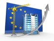 3d illustration of arrow up over EU flag background with construction