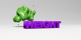 HEIGHT - 3D rendered colorful headline illustration.  Can be used for an online banner ad or a print postcard.