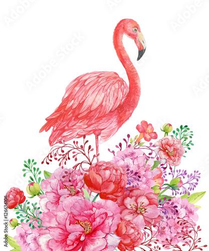 фламинго акварель - 126636106