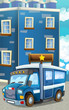 Cartoon happy and funny police car - van - illustration for children