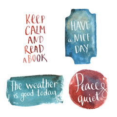 Hand-drawn lettering, positive saying at blue watercolor backgro
