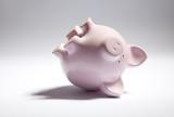 Pink piggy bank upside down.