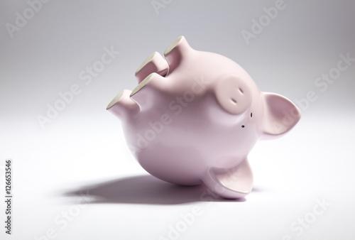 Pink piggy bank upside down. Poster