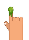 Booger and Hand. Snot on finger. Pick your nose snivel. Green sl