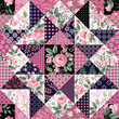 seamless floral patchwork pattern with roses and butterflies