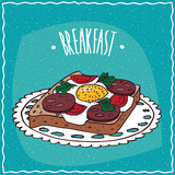 Delicious colorful Toast with Egg, Tomato and Sausage, in cartoon style on blue background. Hand Draw Lettering Breakfast.
