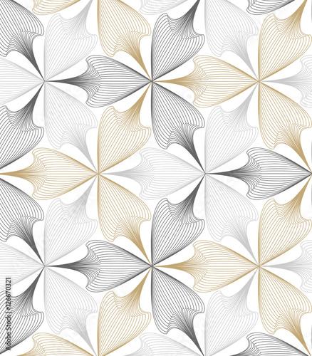 Abstract linear petal flower. Vector pattern - 126670321