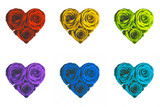 cuore rose colorate