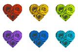 cuore rose colorate