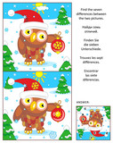New Year or Christmas visual puzzle: Find the seven differences between the two pictures with owl wearing santa cap. Answer included.