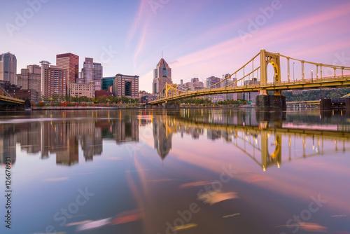 Plexiglas Brug Panorama of downtown Pittsburgh at twilight