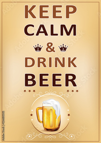 Juliste Keep calm and drink beer - printable Wall poster