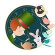Постер, плакат: Alice in Wonderland Mad tea party Hatter Dormouse White Rabbit