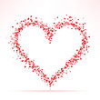 Romantic heart shaped frame with small red hearts and lights on white background. Vector illustration.