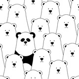 Vector seamless pattern with white polar bears and panda - 126697731