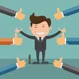 Businessman and many hands with thumbs up , Likes and positive feedback concept - vector illustration - 126697971