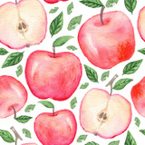 Seamless pattern with hand drawn watercolor apples on white background - 126698972