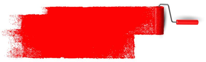 Anstrich mit Farbroller Banner - Rote Fläche mit Textur