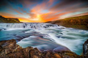 Fototapeta zachód słońca nad Islandią