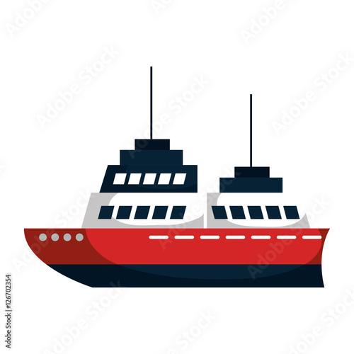 Statek wycieczkowy sylwetka ikona na białym tle wektor ilustracja projektu