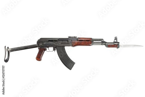 Poster Rare first model AK - 47 assault rifle with bayonet