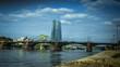 The new European Central Bank Headquarters near a bridge