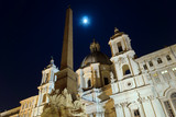 The Egyptian obelisk by night, Piazza Navona, Rome, Italy