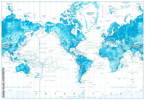 Physical world map america centered buy photos ap images physical world map america centered gumiabroncs Choice Image