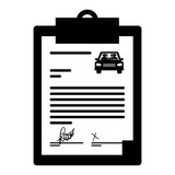 report table with rent a car document icon over white background. vector illustration