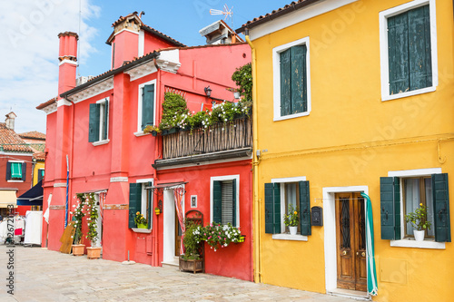 Red and yellow houses in Burano Island (Venice, Italy)