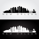 New Orlean USA skyline and landmarks silhouette, black and white design, vector illustration.