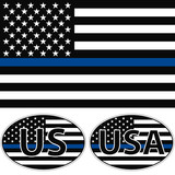 An American flag symbolic of support for law enforcement, USA flag with a blue stripe center, sticker vector - 126733971
